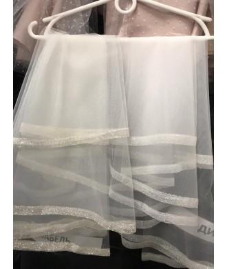 Фата блеск удлиненная №12 белые и айвори