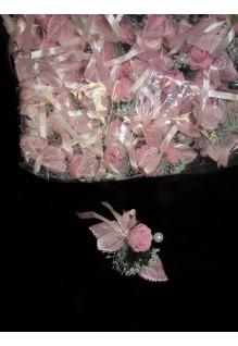 Бутоньерка 1роза розовая 25штук набор