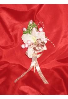 Бутоньерка Лилия белая, шампань, шампань с розовым